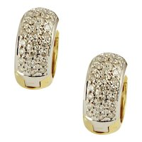 18K Yellow and White Diamond Huggies