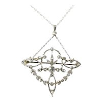 Art Nouveau Platinum Diamond Pendant