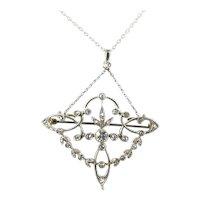 Art Nouveau Platinum Diamond Pendant
