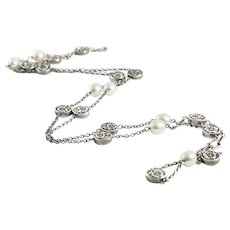 Vintage Tiffany and Co. Sterling Long Chain with Pearls