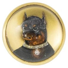 Vintage Tiffany and Co. Reverse Painted Doberman Pinscher Brooch