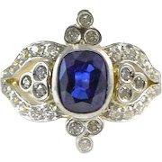 Ryrie Diamond Sapphire Platinum and Gold Ring