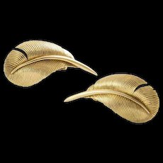 Vintage Cartier London Gold Feather Earrings