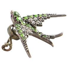 Antique En Tremblant Trembler Dementoid Diamond Swallow Brooch