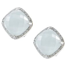 Vintage Rina Lamor Aquamarine Diamond and White Gold Earrings