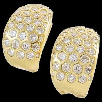 18K Yellow Gold and 2.75 CT Diamond Earrings
