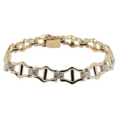 Vintage 14 KT Yellow Gold and Diamond Bracelet