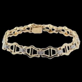 Vintage 14 KT Yellow Gold and Diamond Bracelet