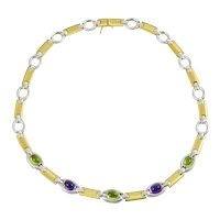 Vintage Italian 14kt Yellow & White  Gold Amethyst and Peridot Necklace