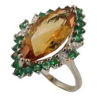 Unique Vintage 14KT White Gold Diamond, Emerald and Citrine Ring