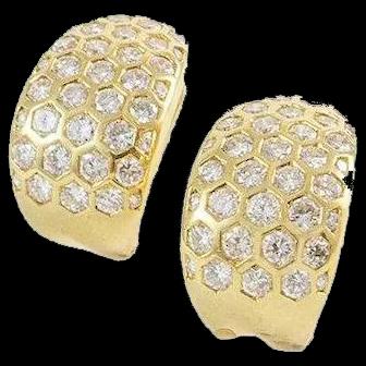 Vintage 18K Yellow Gold 3.75 ct Diamond Earrings
