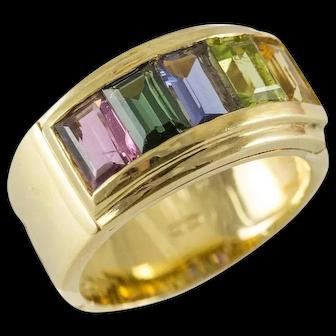 18K Multi Gemstone Band Ring