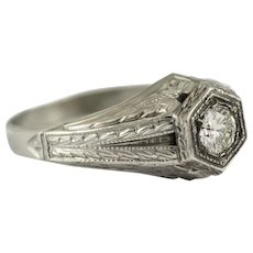Gentlemans 18KT White Gold and Diamond Ring