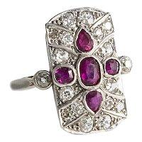 Vintage Platinum Diamond and Ruby Plaque Ring.