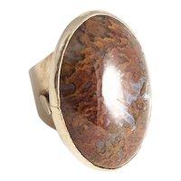 Bold Vintage 14kt Moss Agate Ring.