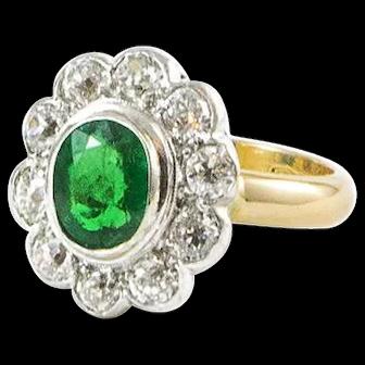 Antique Diamond and Emerald Ring