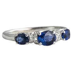 White Gold Diamond and Sapphire Demi Band