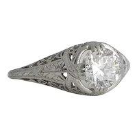 Art Deco Platinum and Diamond Filigree Ring