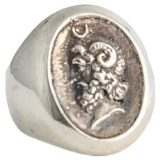 Vintage French Silver Ring Bacchus