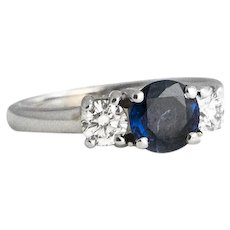 Vintage 14K White Gold Diamond and Sapphire Ring