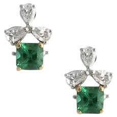 Exceptional Vintage Emerald and Diamond Earrings
