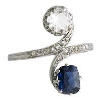 Platinum Diamond and Sapphire Toi et Moi Ring