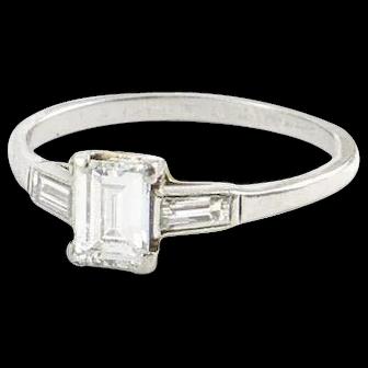 Vintage Platinum and Emerald Cut Diamond Ring