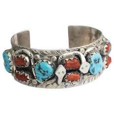 H. Spencer Navajo Sterling Coral & Turquoise Cuff