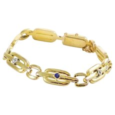 Vintage 14K Gold Diamond and Sapphire Bracelet