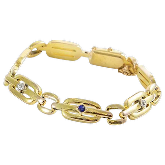 Vintage 14K Gold Diamond and Sapphire Bracelet