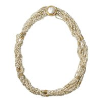 14K Yellow Gold Multi Strand Seed Pearl Necklace