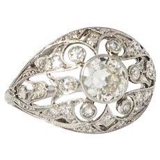 Art Deco Diamond & Platinum Dome Ring
