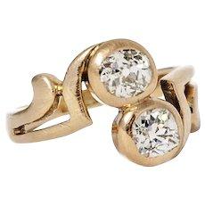 Arts & Crafts. Rose Gold Twin Diamond Ring