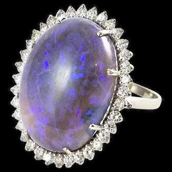 Large Custom Made Diamond and Black Opal Ring