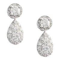 18K White Gold Diamond Day & Night Earrings