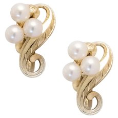 Vintage Mikimoto Pearl & Yellow Gold Earrings