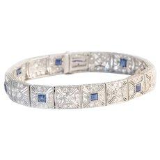 Art Deco Filigree Platinum Diamond & Sapphire Bracelet