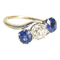 Antique .98 Old Mine Cut Diamond & Sapphire Ring