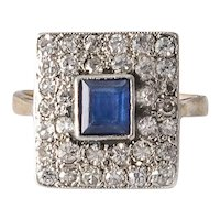 Art Deco Diamond and Sapphire 14K Gold Ring