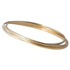 French 18K Tri Tone Gold Trinity Bangle