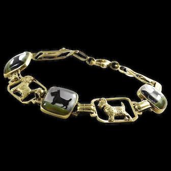 14K Yellow Gold Scotty Reverse Painted Crystal Bracelet  Description:
