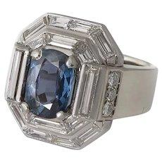 Stunning Diamond & Sapphire Ring - No Heat