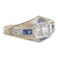Art Deco White & Yellow Gold Diamond & Sapphire Ring