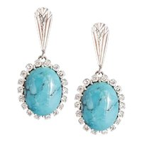 Vintage White Gold Diamond & Turquoise Earrings