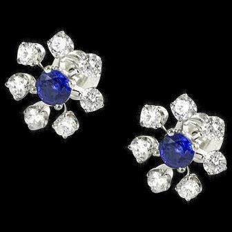 Vintage Custom Made Platinum Diamond and Sapphire Earrings