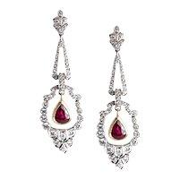 White Gold Diamond and Ruby Ear Pendants