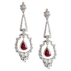 White Gold Diamond and Ruby Ear Pendants