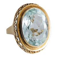 Vintage 14KT Yellow Gold Aquamarine Ring