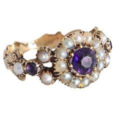 Georgian Sea Pearl and Garnet Ring