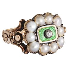 Georgian Pearl Enamel and Diamond Ring